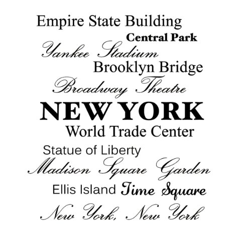Central Empire State Express - Empire state building, Central park, Yankee stadium, Brooklyn bridge, Broadway Theatre, NEW YORK, World Trade Center, Statue of Liberty, Madison Square Garden, Ellis Island, Time Square, New York New York Vinyl wall art Inspirational quotes and saying home decor decal sticker steamss