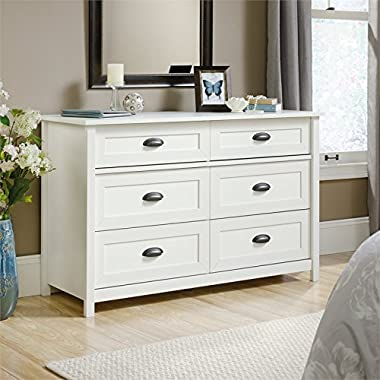 Sauder County Line 6 Drawer Dresser in Soft White