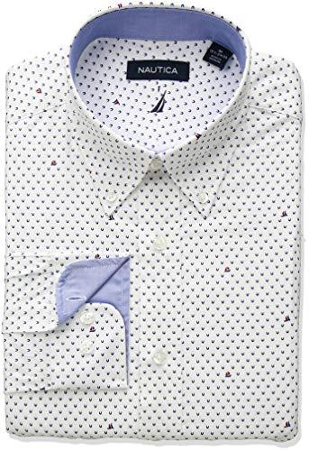 Nautica Men's Classic Fit Button Down Collar Dress Shirt, White Sailboat Print 15.5 32/33