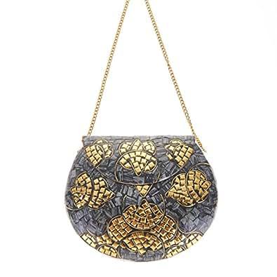 From St Xavier Women's Greta Clutch, Grey Gold, One Size