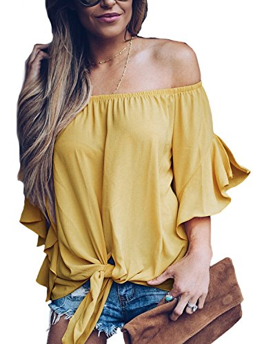 Women's Solid Bell Sleeve Off Shoulder Blouse Tops Front Tie Knot Shirt (Yellow,XL) (Top Girls Yellow)