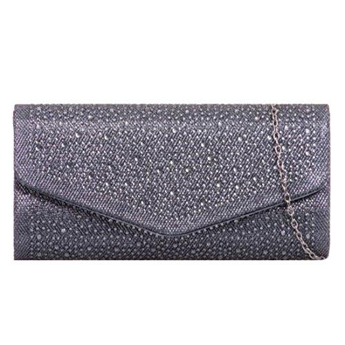 Clutch Wedding Grey Leahward Bag 941 Diamante Prom Evening Handbag Women's EqIIUPxwA