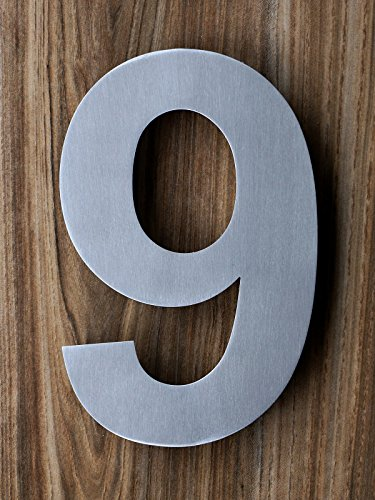Qt Modern Extra Large House Number 10 Inch Brushed
