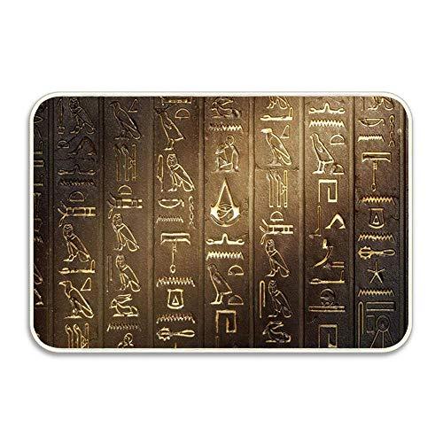 Egyptian Stone Carving Art of Ancient Egyptian Hieroglyphs Doormat Entrance Mat Floor Mat Door Mat Rug Indoor/Outdoor/Front Door/Bathroom]()