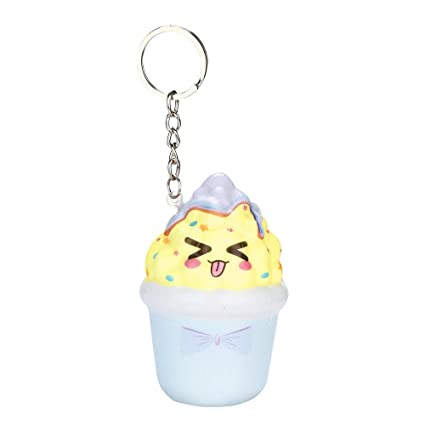 Amazon.com: Cartoon Ice Cream Keychain - Scented Squishy ...