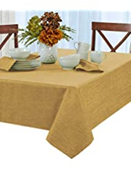 Penington Solid Woven No-Iron Soil Resistant Fabric Tablecloth - 52 X 70 Oblong - Gold