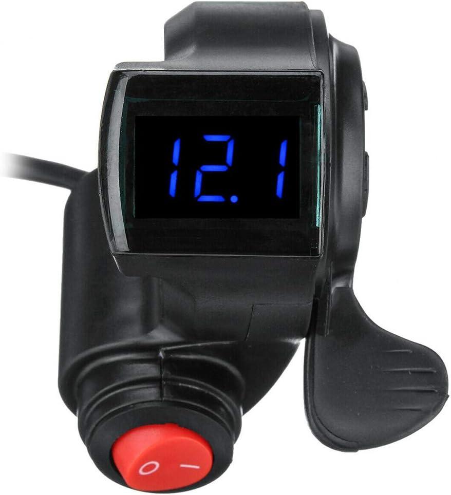 12V-72V Poign/ées Accessoires Portable Noir Num/érique Scooter Universel R/ésistant Cl/é Cognement Affichage LED avec Puissance Interrupteur pour V/élo /Électrique SparY Acc/él/érateur de Pouce