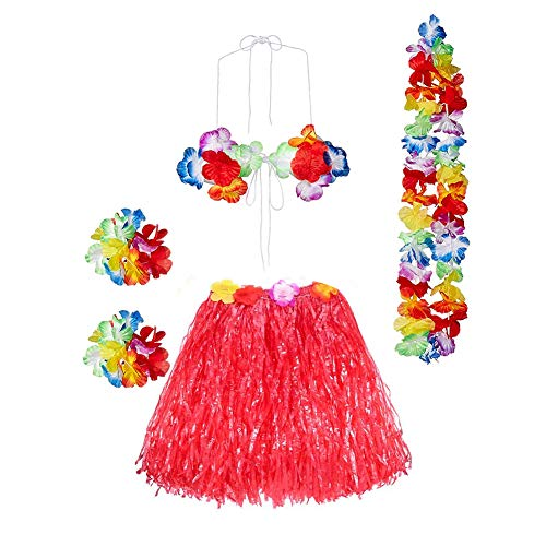 Gorse Hula Grass Skirt with Flower Leis Costume Set, Elastic Luau Grass and Hawaiian Luau Costume Set Flower Bracelets, Headband, Necklace,Bra for Party Favors(Red15.7) -