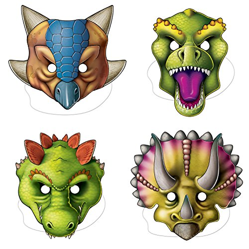 Beistle Dinosaur Masks | Jurassic Park, Dinosaur Birthday, Halloween, Masquerade Theme Party Supplies (12 Count)