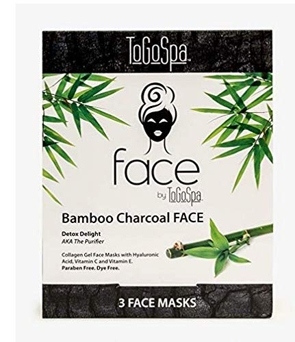 Bamboo Charcoal FACE Anti-Aging Mask by ToGoSpa - Collagen Gel Masks with Hyaluronic Acid, Vitamins C & E Will Moisturize, Hydrate, Tighten, Lift , Firm, Brighten & Smooth your FACE - 3 Masks