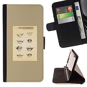 - Queen Pattern FOR Samsung Galaxy S6 EDGE /La identificaci????n del cr????dito ranuras para tarjetas tir????n de la caja Cartera de cuero cubie - woman sexy lips babe funny chart