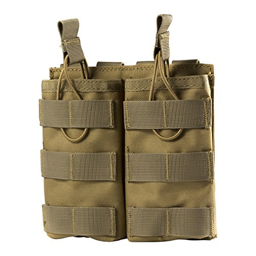 OneTigris Tactical MOLLE Double Open-Top Mag Pouch for AR M4 M16 HK416 magazines (Tan - 1000D Nylon)