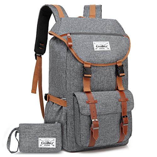 Travel Backpack CoolBELL 17.3 Inches Laptop Backpack Leisure Outdoor Rucksack Hiking Knapsack Daypack Multi-Functional Business Bag for/Men/Women/College (38L, Grey)