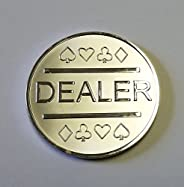 Silver Plated Metal Dealer Button for Poker Games Such as Texas Hold
