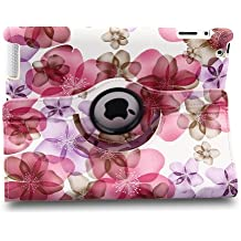 Generic New Modern Flower Design Pattern Slim-fit Lightweight PU Leather Case Skin Cover for iPad & Amazon Kindle Fire HDX Series Products (ipad 2 3 4, pink)