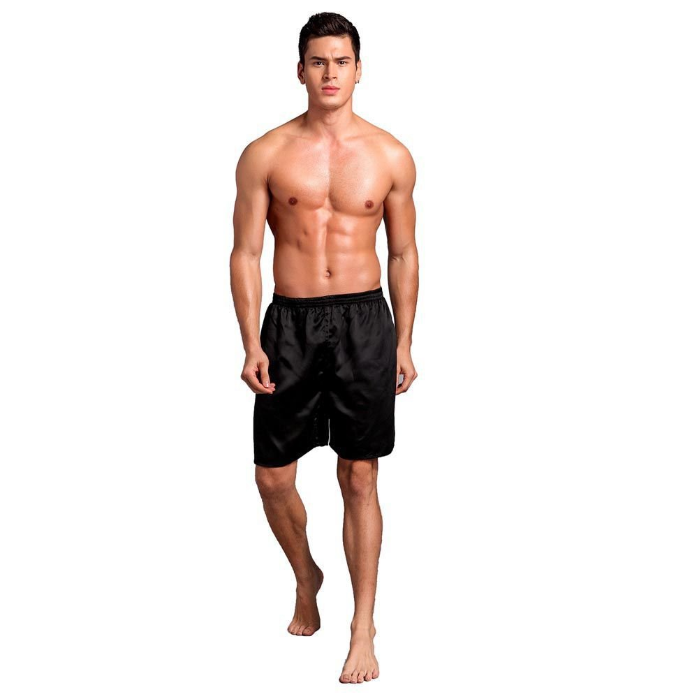 Bornbayb Men's Solid Silk Satin Boxers Shorts Beach Shorts Loose Pajama Short Pants