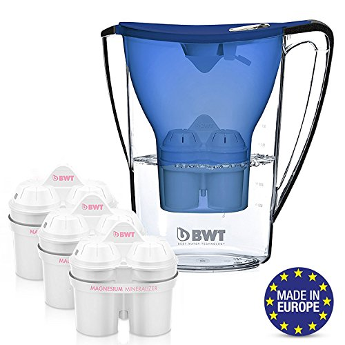 Price comparison product image BWT Premium Water Filter Pitcher With 3 Bonus 60 Day Filters,  Award Winning Austrian Quality,  Technology For Superior Filtration & Taste (Blue)