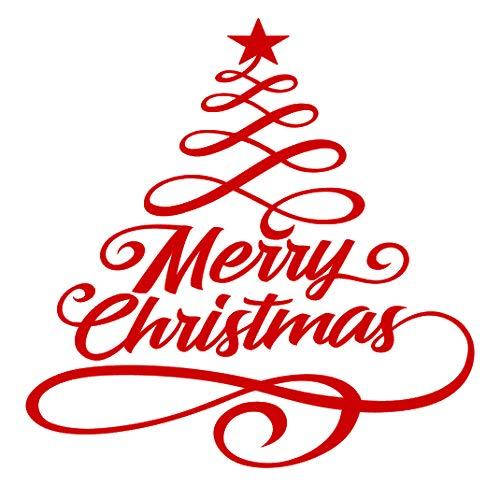 Yilooom Merry Christmas Flourish Tree Vinyl Decal Sticker Home Wall Car ()