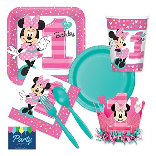 Minnie Mouse 1st Birthday Party Supplies - Deluxe Tableware Set for 16 Guests - Plates, Napkins, Cups, Forks, Spoons -