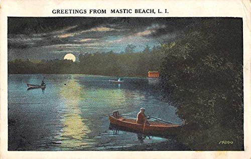 Mastic Beach Long Island New York Greetings Canoeing at Night Postcard JE228952