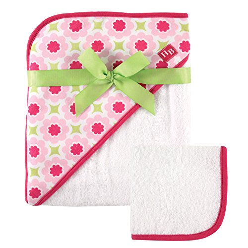 Hudson Baby Print Woven Hooded Towel and Washcloth, Girl, Seahorse Flower Print]()