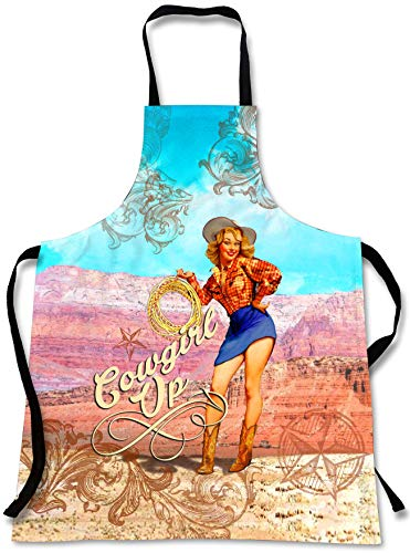 Sweet Gisele Retro Cowgirl Up Cooking Apron | 3D Print Vintage Western Chef Aprons | Great Home Kitchen Souvenir Gift | Travel Accessories Made in USA | 1 Size Womens Bib -