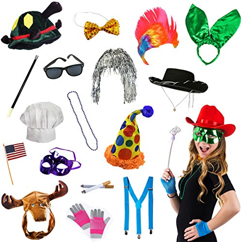Photo Booth Props - Photo Booth Parties - 14 Assorted Dress Up Costume Accessories by Tigerdoe