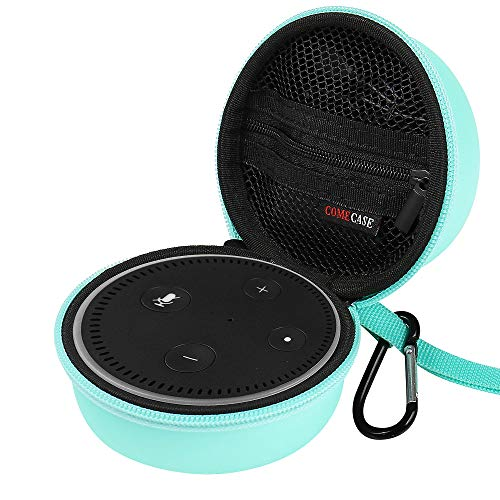 Travel Hard Case Cover for Amazon All-New Echo Dot (2nd Generation) with Carabiner. Fits The Charger (Mint)