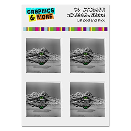 """GRAPHICS & MORE Alligator Black and White Green Eyes Computer Case Modding Badge Emblem Resin-Topped 1"""" Stickers - Set of 4"""