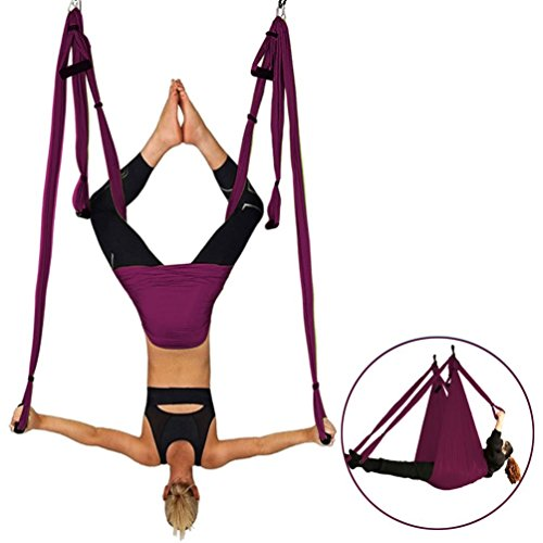 Ranbo exercises Yoga Inversion Swing - Anti-Gravity Aerial Trapeze movement - Flying Hammock Sling equipment- Relieves Back Pains, Improves your Strength, Balance, Flexibility and Endurance (purple)