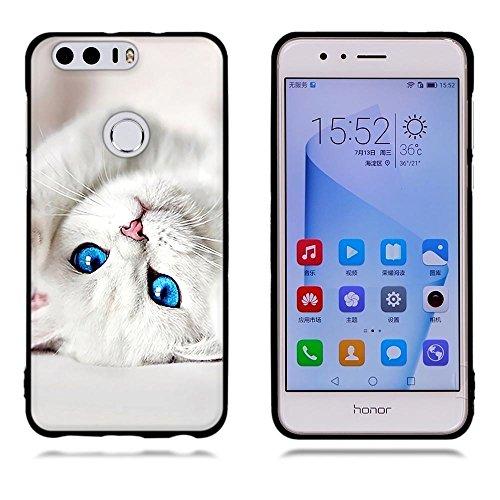 Funda Huawei Honor 8, FUBAODA [Flor rosa] caja del teléfono elegancia contemporánea que la manera 3D de diseño creativo de cuerpo completo protector Diseño Mate TPU cubierta del caucho de silicona sua pic: 22