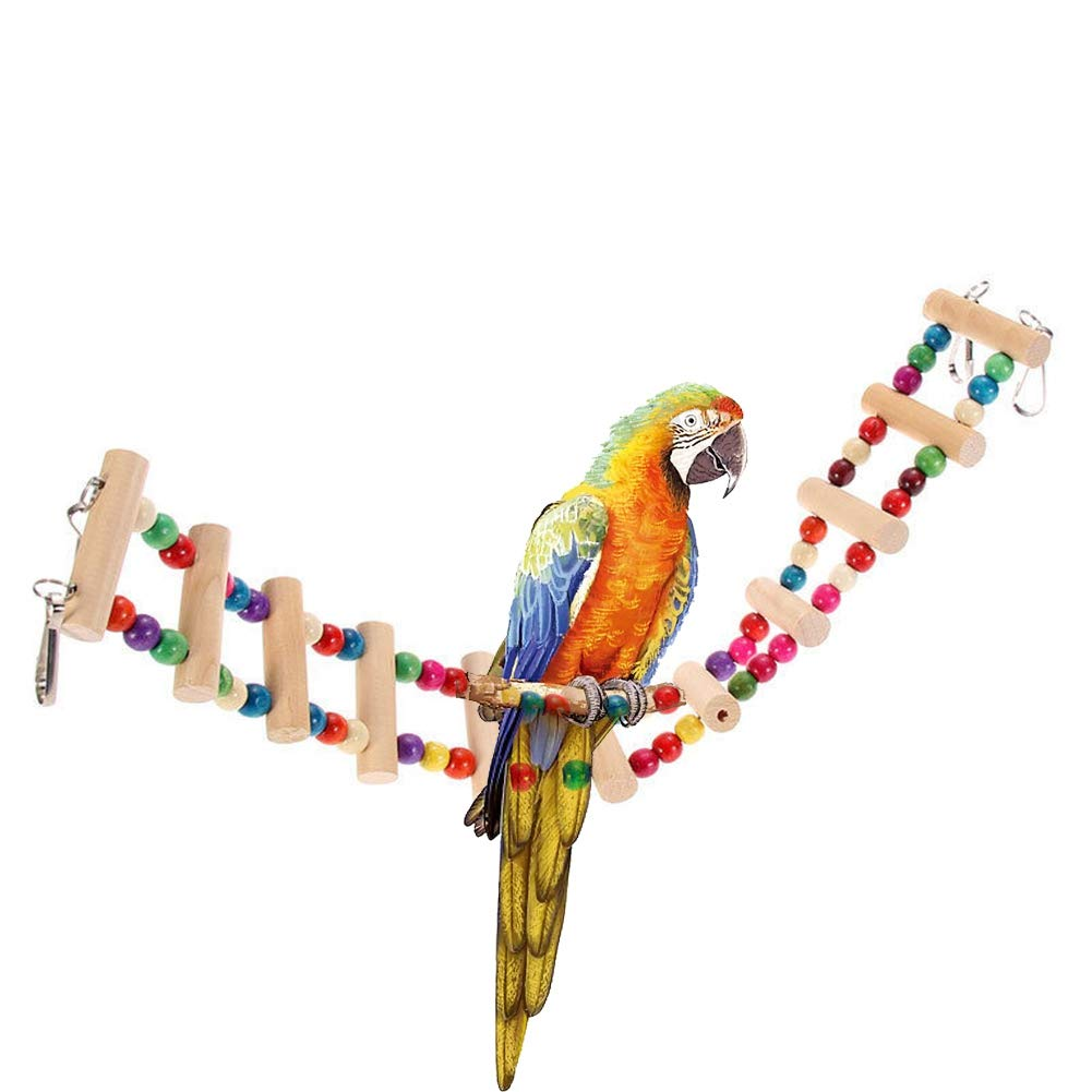 Handfly Natural Wood Climbing Ladder Toy for Bird Ladder Bird Toy Parrot Budgie Parakeet Cockatiel Macaw African Grey Cockatoo Rat Squirrel Cage Perch