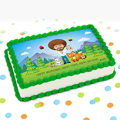 Official Bob Ross & FriendsHappy Mountains, Happy Trees, Happy Birthday! Edible Printed Cake Image Topper