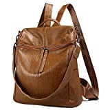 Fashion Backpack, JOSEKO Women Purse Soft PU Leather Ladies Rucksack Shoulder Bag Handbag Brown
