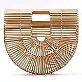 Women Bamboo Purse Handmade Handbag Wooden Tote Straw Bag