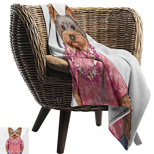 BelleAckerman Bed Blanket,Yorkie,Portrait of a Dog in Humanoid Form with a Pink Shirt with Hawaian Lei Fun Image,Multicolor,for Bed & Couch Sofa Easy Care 70