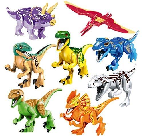 Ada005 8pcs ABS Dinos Toy,Dinosaur Building Blocks Miniature Action Figures