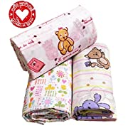 Organic Cotton Swaddling Blankets for Babies Girls Newborn Large Light 3 Baby Receiving Blankets. Great Baby Shower Gift. Floral Pink