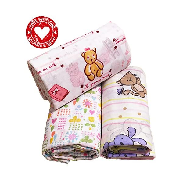 MyBabyComfort Thin Baby Swaddling Receiving Blankets Organic Cotton Girl Newborn Floral Pink 3 Set