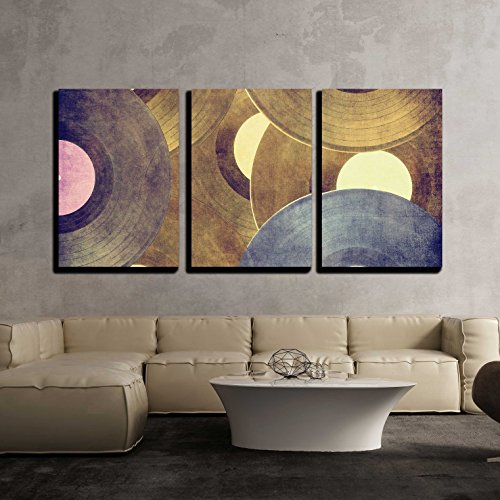 wall26-3 Piece Canvas Wall Art - Vinyl Records Music Backgro