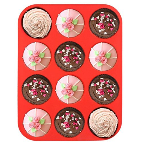 Longay 12 Cup Silicone Muffin Cupcake Baking Pan Non Stick Dishwasher Microwave Safe (A) (For Cabinet Sale Bar)