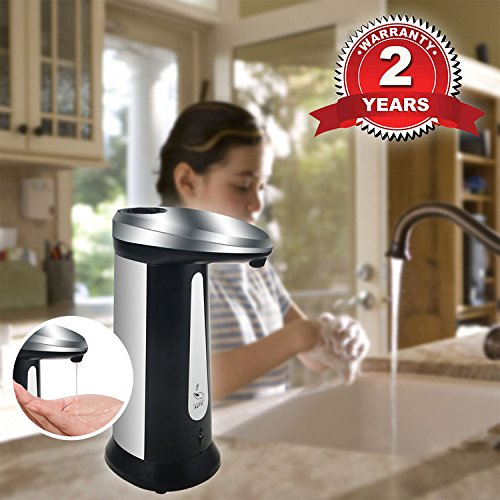 Automatic Soap Dispenser, WeGuard 400ml Large Capacity Touch-less Liquid Soap Dispenser For Bathroom Shower Kitchen Counter Top - IR Infrared Motion Sensor With Light Indicator and Chime Reminder