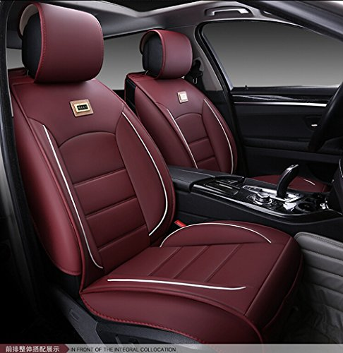 Luxurious Airbag Compatible Universal Full Set Needlework PU leather Dacron Fabric Front Rear Car Seat Cushion Seat Covers for Honda Civic Accord 6PCS Red