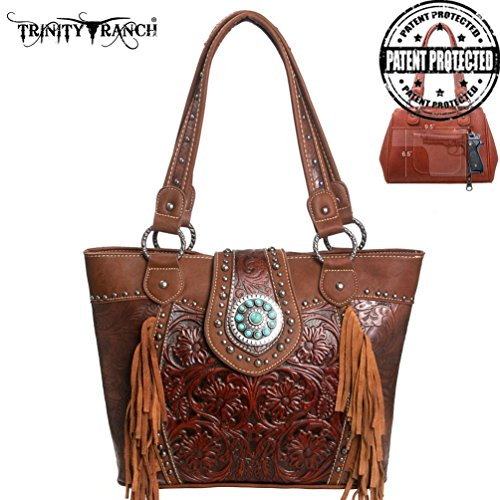 TR04G-8317A Montana West Trinity Ranch Tooled Design Concealed Handgun Handbag-Brown - Trinity Design