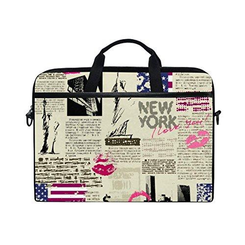 New York Slim Briefcase - YQINING Vintage New York Newspaper Laptop Bag Briefcase Shoulder Messenger Bag for Men and Women Fits 15 Inch or 15.4 Inch Laptop Tablet Computer