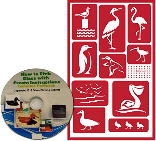 Bird Stencils for Painting & Glass Etching: Seagull, Mallard Ducks, Flamingo, Crane, Penguin, Pelican, Chicks, & Long-billed Curlew - Reusable Adhesive Stencils with Patterns on CD-ROM