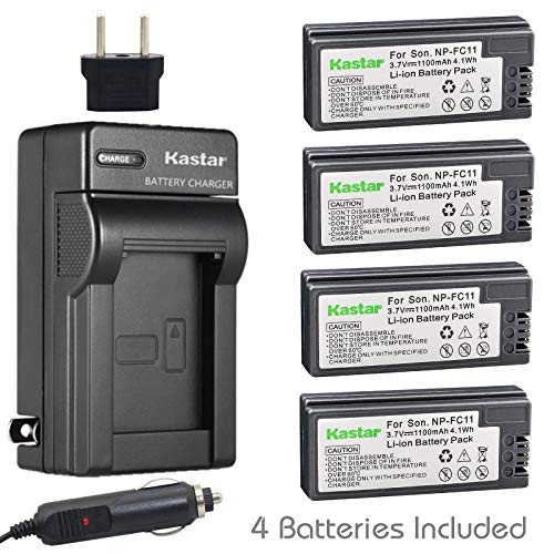 (Kastar Battery 4 Pack + Charger Replacement for NP-FC11 NP-FC10 Cyber-Shot DSC-P12 DSC-P10 DSC-P8 DSC-V1 DSC-P7 DSC-P5 DSC-P9 DSC-P3 DSC-F77 DSC-P10S DSC-FX77 DSC-P2 DSC-P10L DSC-P8L DSC-F77A)