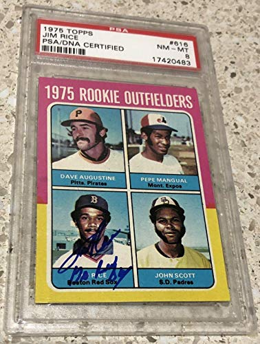 Jim Rice Go Red Sox 1975 Topps RC Signed Rookie Card 8 Auto INSCRIPTION HOF - PSA/DNA Certified - Baseball Slabbed Autographed Cards