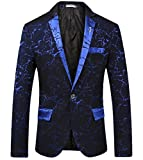 YUNY Men's Flat Collar Long Sleeve Pocket Solid One Button Business Suit Blue XS