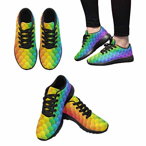 Interestprint Femmes Jogging Running Sneaker Léger Aller Facile À Pied Confort Décontracté Chaussures De Course Simple Géométrique Double Acide Coloré Arc En Ciel Multi 1